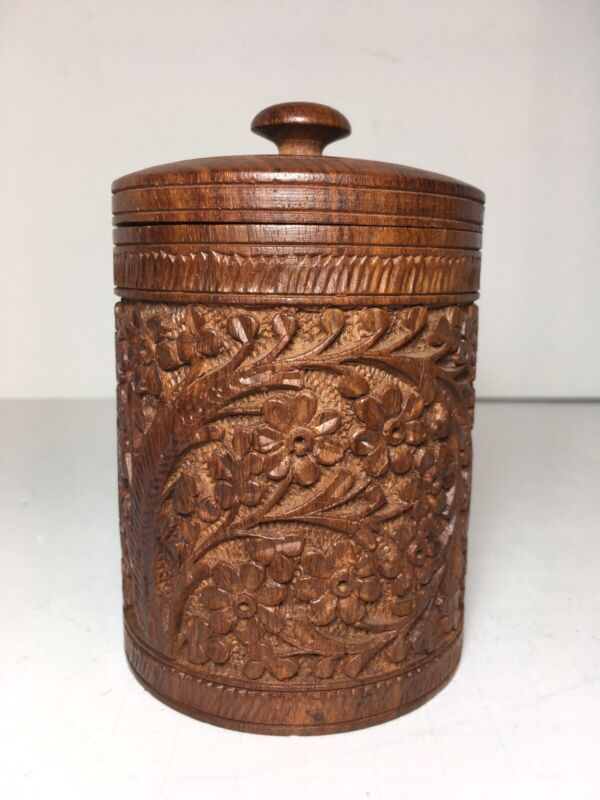 """Handcrafted Wood Canister Container Lidded Floral Design 5"""" India"""