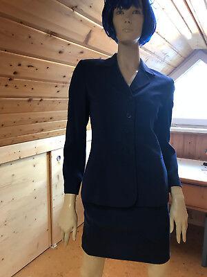 Kasper Kostüm Jacke Rock Business Suit blau Gr. 34 / - Blauer Mini Rock Kostüm