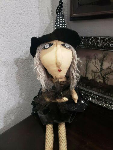 "Halloween Primitive Folk Art Witch Doll Shelf Sitter Cloth Doll Gray Hair 35"""