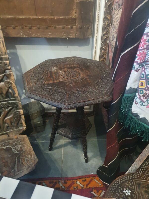 Burmese Carved 2 Tiers Side Table