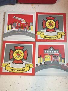 Cadres décoratif pour chambre pompiers Fireman artwork for kids
