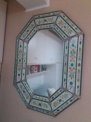 Rarissimo grande specchio veneziano murano epoca liberty 120x90 smalto e oro 24k