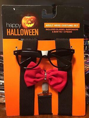 Adult Nerd Costume 3pc Set - Black suspenders, red bowtie, black glasses - NWT (Nerd Suspenders)