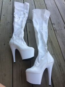 "Knee High Dancing Boots & Shoes - All 6"" Heel & Size 8"
