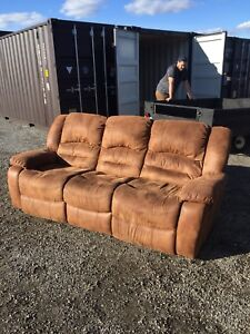 Free delivery: brown suede 3 seat reclining couch.