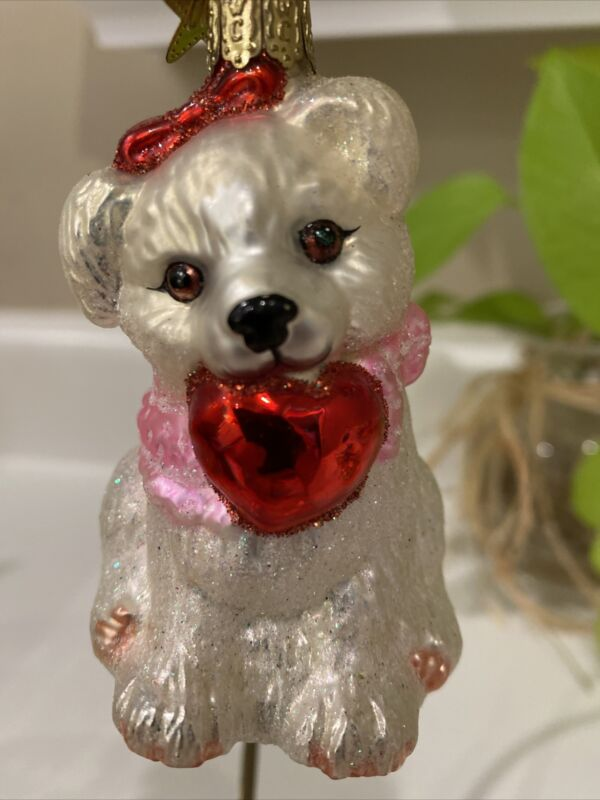 """Inge Glas/Old World Christmas 3.5"""" Lovable Puppy"""