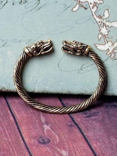 Viking Gold FENRIR Wolf Norse SACRED ARM RING Steel Bracelet Ragnar Lothbrok