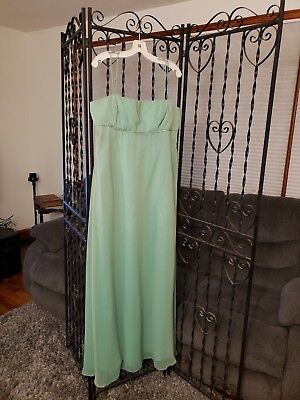 Prom Homecoming Bridesmaids Iridescent Chiffon Empire A-line Spearmint Sz 16 ()