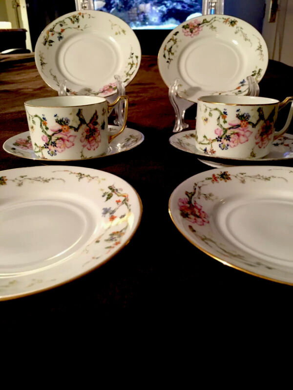 "Epaig Cezchoslavakia Fine China. Lot Of six 6"" Dessert/Tea Plates W/ Two Cups ."