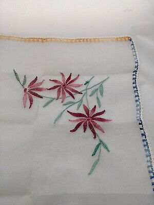 Vintage Voile Embroidered Tablecloth 44