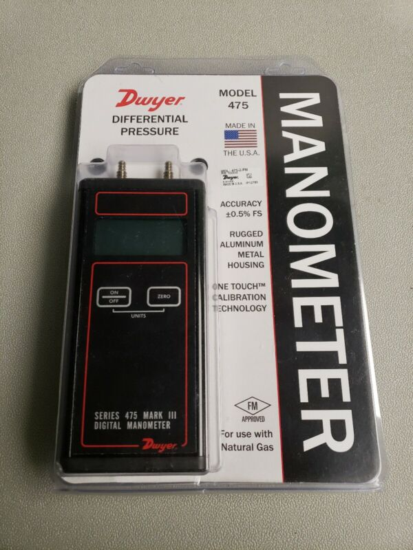 DWYER INSTRUMENTS Handheld Manometer,0 to 40.00 In WC, 475-2-FM