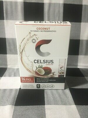 CELSIUS | On the GO Powder Stick - 0g Sugar COCONUT 14 Packs SUPER STRONG Powder Stick Pack