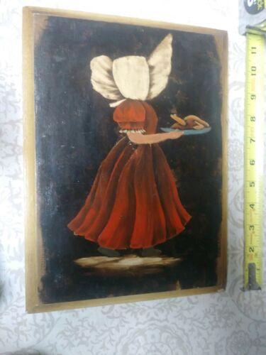 Folk Art Primitive Oil Painting Mennonite Girl Child Turkey Thanksgiving Art  - $28.00