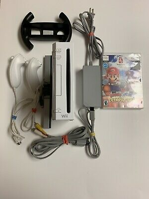 Nintendo Wii RVL-001 Video Game Console Bundle GameCube Compatible Tested
