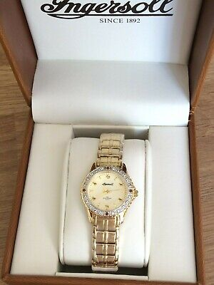 INGERSOLL NEW LADIES GOLD PLATED GEM SET WATCH BOXED RRP £175