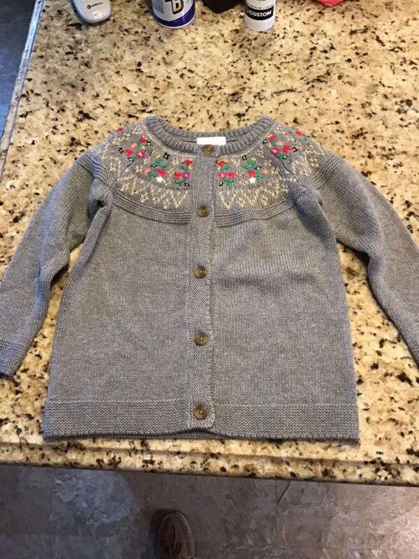 NWT Hanna Anderson Grey Cardigan With Embroidery Size 100 Us Size 4