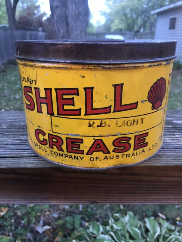 Vintage Early Shell Oil Co Of Australia Grease Can Tin Gas Oil