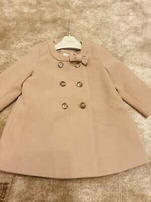 Baby Girl 12-18 Months Gap Camel Beige Double Button Bow Wool Blend Coat Jacket