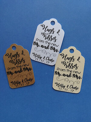 20 CUTE personalized Wedding favor tags! Hugs & Kisses from the new Mr. and Mrs. Kisses Wedding Favors