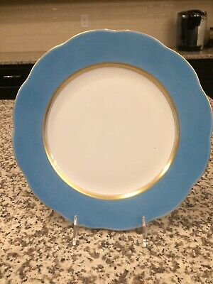 "Herend Silk Ribbon Turquoise 11"" Service Plate  Hand Painted Gold Trim New"