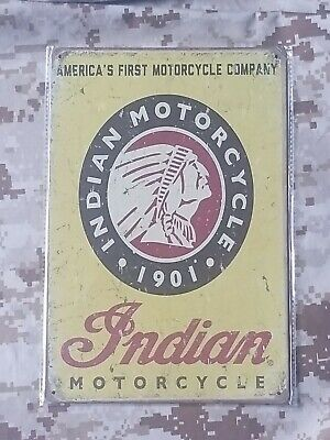 Indian Motorcycle America's First Tin Sign Wall Décor Retro Style Garage Auto