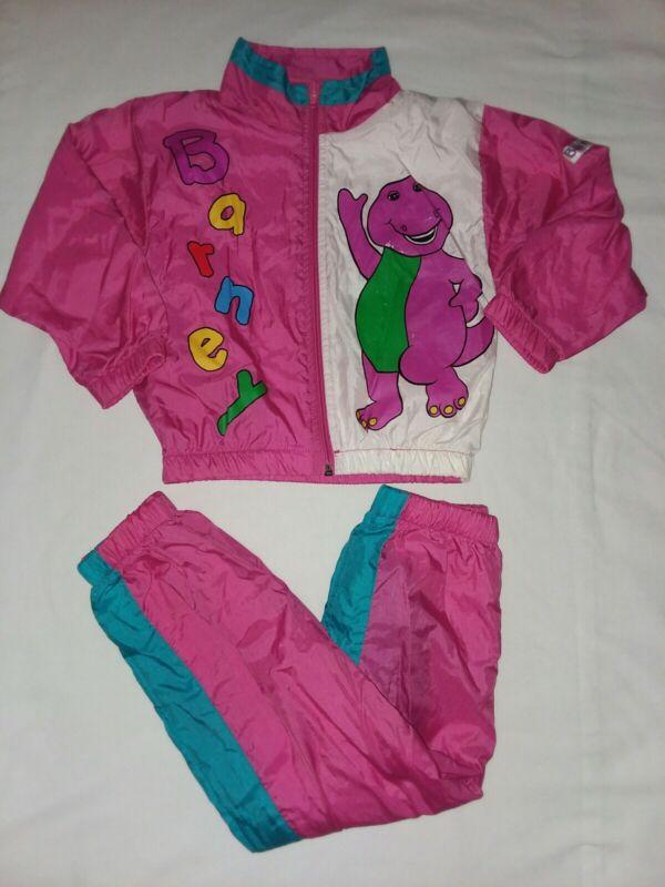 Vintage 1992 Lyons Group Barney Baby Bop Nylon Windsuit Jacket Pants Child 4t