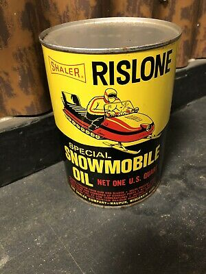 Vintage Shaler Rislone Special Snowmobile One Quart Oil Can Waupun, WI NOS FULL!