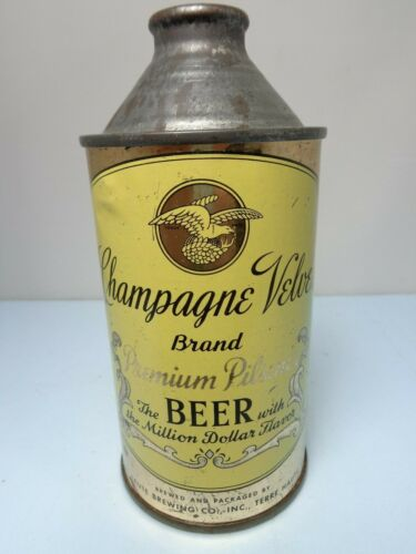 CHAMPAGNE VELVET IRTP 1949 PLIICY CONE TOP BEER CAN #157-7  TERRE HAUTE, INDIANA