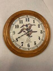 Ducks Unlimited - Oak Wood Wall Clock - Geese in Flight