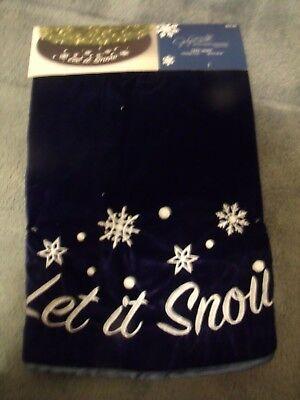 "Jaclyn Smith Tree Skirt Midnight Clear Dark Blue Let It Snow Snowflake 48"" NWT"