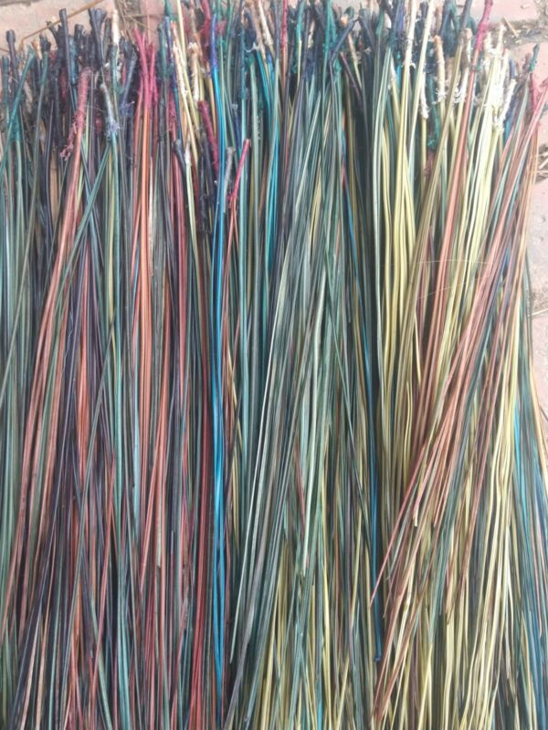 Long leaf pine needles dyed multi colors,treated with glycerin.