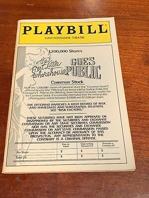 BEST LITTLE WHOREHOUSE GOES PUBLIC Broadway 1994 Playbill! Dee Hoty, Tommy