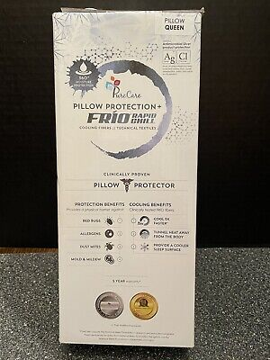 NEW Pure Care Pillow Protector FRIO Rapid Chill Cooling Fibers QUEEN
