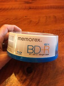 Memorex BD-R 4x 25GB 15 pack new sealed
