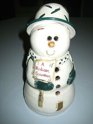 SNOWMAN VOTIVE CANDLE HOLDER PIGEON SWITCH POTTERY-SIGNED-PENNI Muncie Indiana