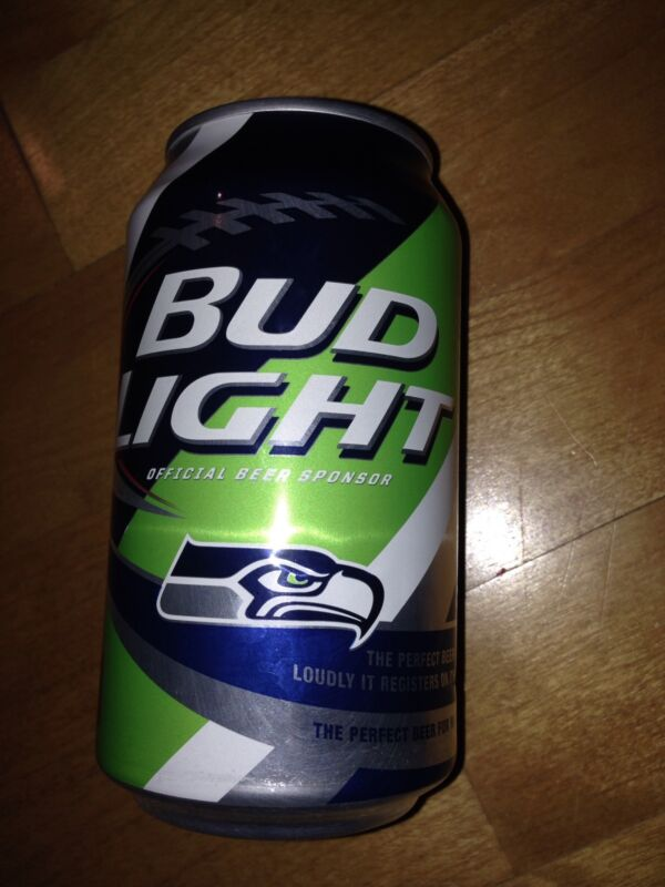 Seattle Seahawks Bud Light Beer Empty Team can Nfl 2015 kickoff bottom opened