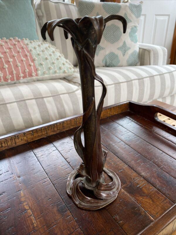 Antique Bronzed Art Nouveau Candlestick Leaves