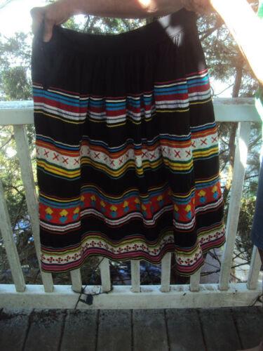 Vintage Seminole Long Black 4 Band Multi Color Patchwork Rickrack Skirt