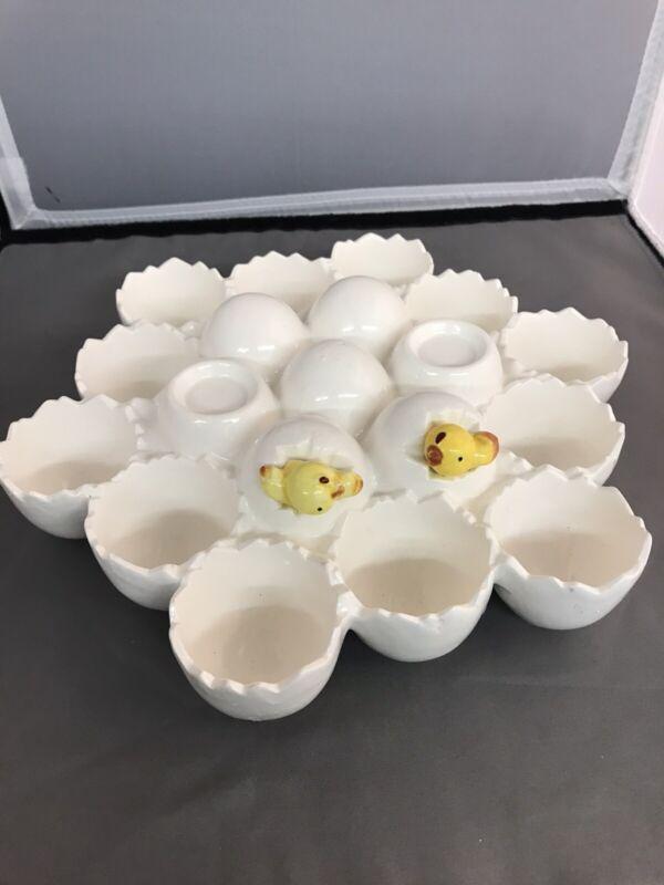 Enesco Vintage Egg Holder Porcelain Ceramic Baby Chick Chicken Easter Holiday