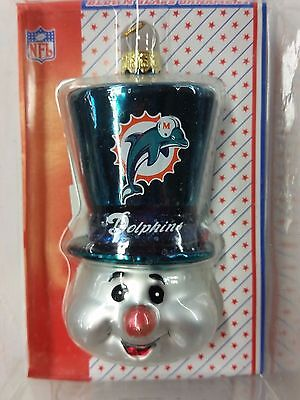 - NFL Miami Dolphins SNOWMAN TOP HAT Blown Glass Ornament, NEW