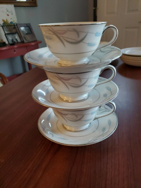 Vintage Valmont China Royal Wheat Japan Tea Cup and Saucer Lot of 3 Blue White