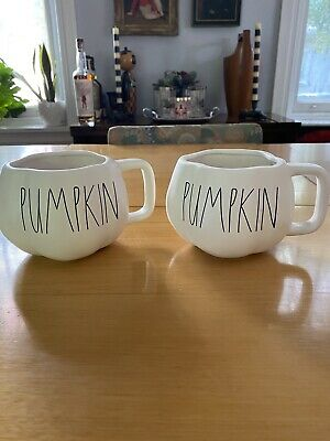 "Rae Dunn ""Pumpkin"" Mug Set Pumpkin Shape Ivory 2020 Fall Halloween, New"