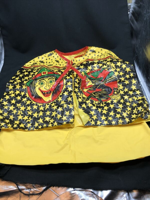 Vintage Vinyl Halloween Costume Yellow Witch Cape and Yellow Skirt