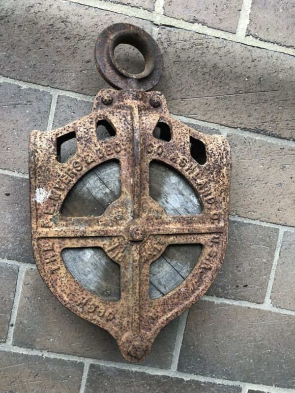 Vtg cast iron FE Myers & Bro Drop pulley rustic farm tool primitive H 560