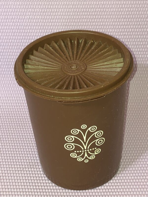 Vintage TUPPERWARE White Snowflake Canister 811 With Lid, 812