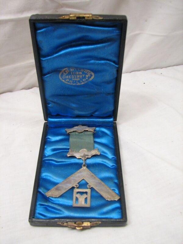 Antique Masonic Lodge Presentation Pin Coin Silver Un-Engraved with Box Mason