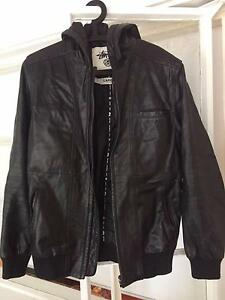 LEATHER STUSSY JACKET - PERFECT CONDITION Albert Park Port Phillip Preview