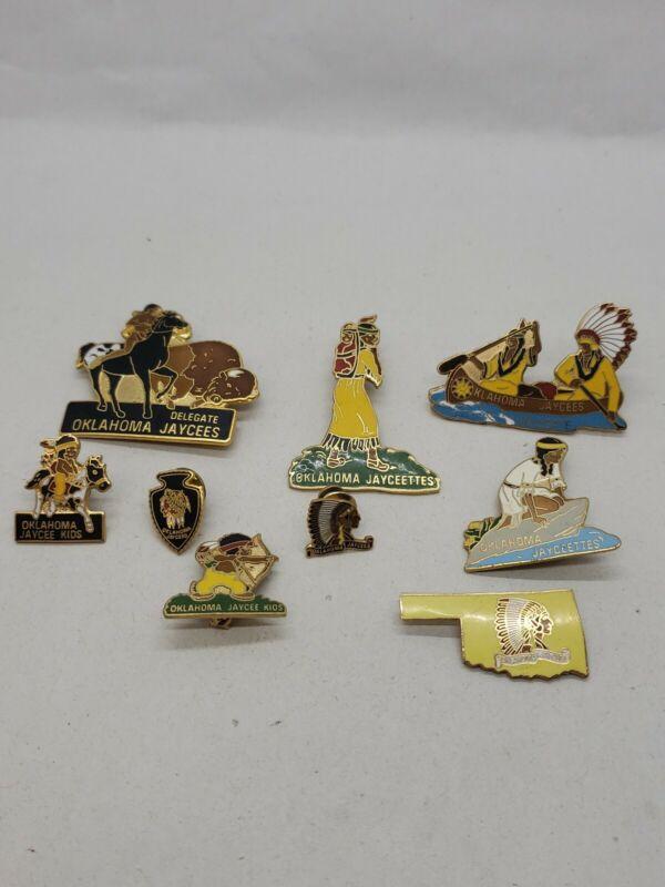 Oklahoma Jaycees lot of 9 pc Pin Lot, Chief w Frontiersman, Jaycees Kids -LDP529