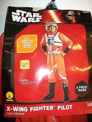 Star Wars X-WING FIGHTER PILOT Child Costume Medium 8-10 w/ 2 pc Mask Rubies NEW