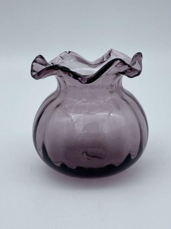 Vintage Amethyst Purple Optic Vase Art Glass Ruffle Top Pontil Mark